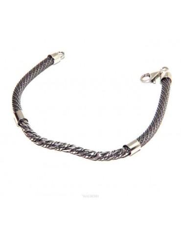 bracciale argento 925 ritorto da uomo con elemento centrale