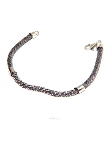 men's silver torcion bracelet with central insert