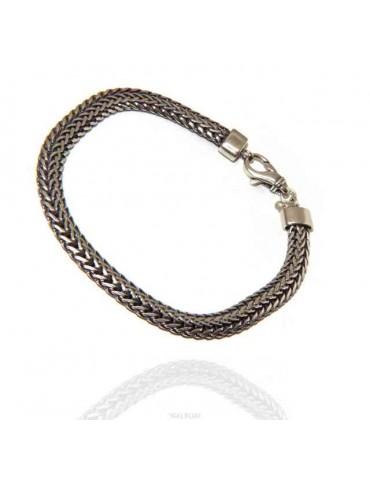 men's bracelet 925 silver double flat snake 21.5 cm long
