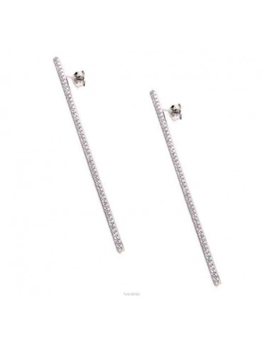 Earrings in 925 silver tennis match long white cubic zirconia