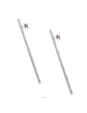 Orecchini argento 925 fiammifero tennis lunghi zirconi bianchi