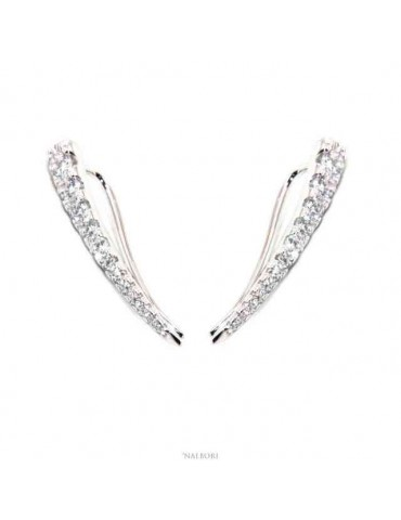 NALBORI Tennis earrings silver 925 tennis gradation curved with white cubic zirconia
