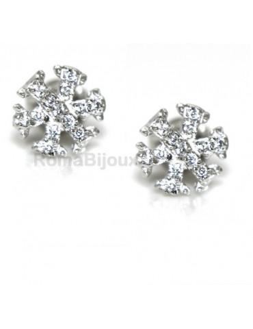 925: woman man white cubic zirconia earrings snowflake