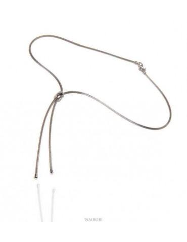 collana argento 925 finto saliscendi e nodo piano dell'amore - N1288