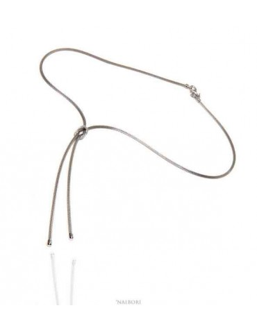 Nalbori 925 silver necklace with false ups and downs and flat knot of love