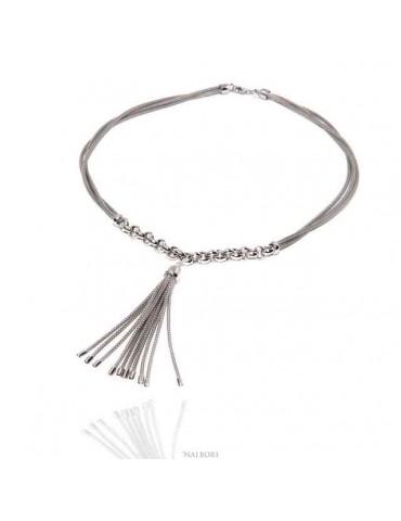 collana argento 925 con ciuffo a 3 fili da donna - N1289 NALBORI