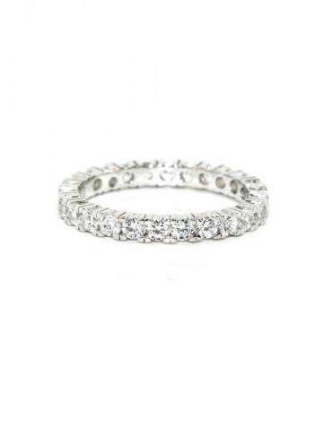 925 Rhodium: Eternity Infinity faith all around brilliant white cubic zirconia 2.5 mm for men or women