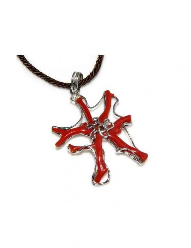 Esclusivo Ciondolo donna linea Capri in argento 925 con corallo naturale a stella e cordone