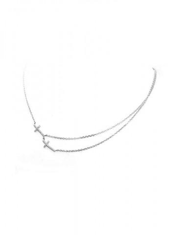 Argento 925 Collana Collier 2 croci e doppia catena pavè zirconi bianchi