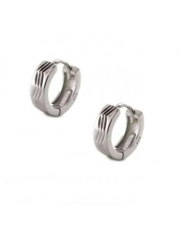 orecchini argento 925 scattino uomo e donna zig zag 12mm (1 paio)