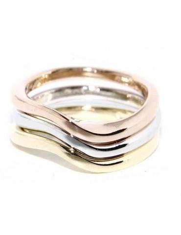 tris anelli onda argento 925 in 3 colori oro bianco giallo rosa