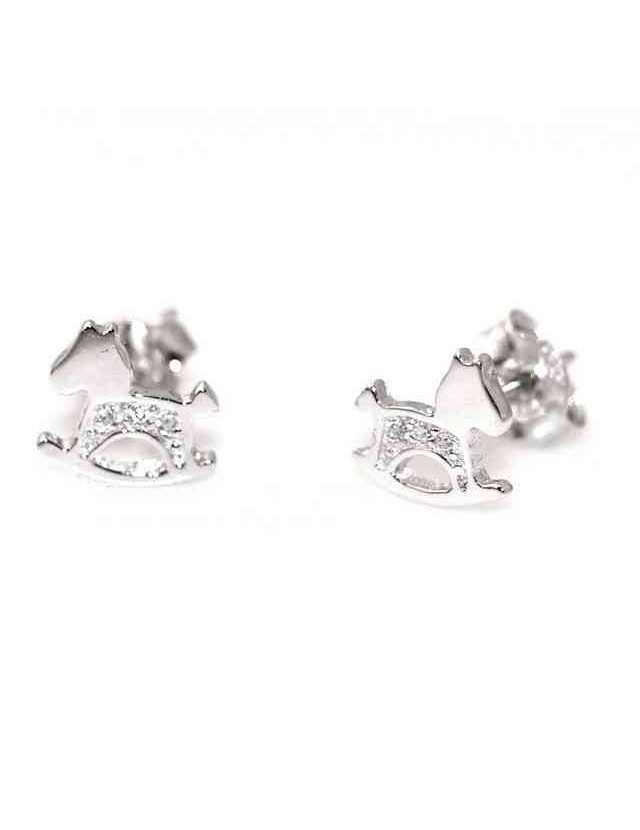 925 silver rocking horse earrings with white cubic zirconia