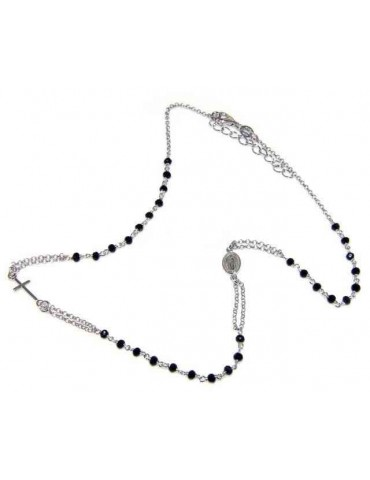 necklace 925 silver rosary choker black crystal 45 + 5