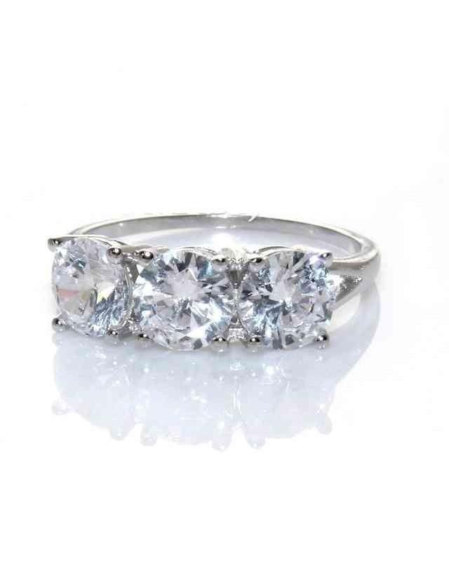 anello trilogy argento 925 con zirconi da 0,6 -  N0074
