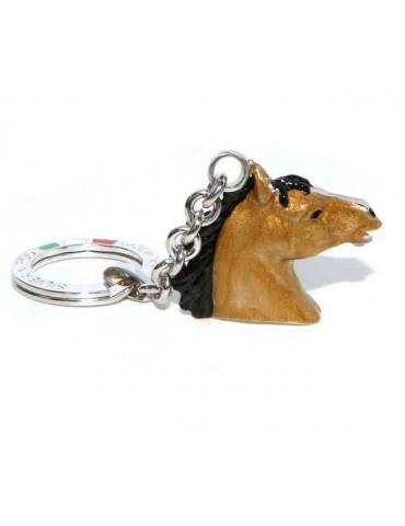 Keyrings  horse head baked enamel Silver 925