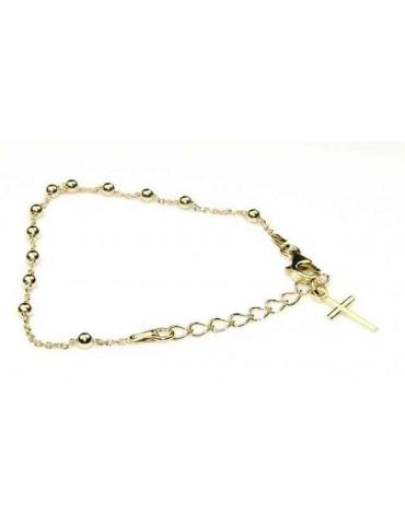 Bracciale rosario Argento 925 bagno giallo o rodio 16 - 20 cm