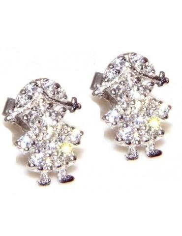 orecchini argento 925 bambina con pavè di zirconi