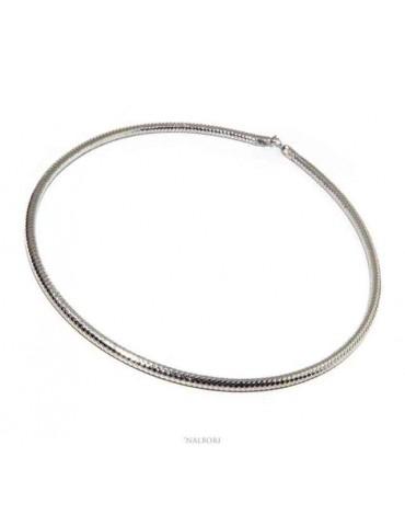 Choker argento 925 semirigida a snake collana collare - N1290