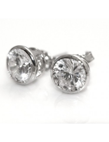 Silver 925: earrings male micro chives 7 mm cubic zirconia