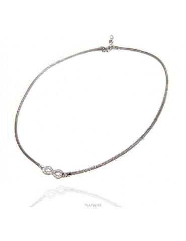 NALBORI collana argento 925 zirconi su infinito fox tail snake N1291