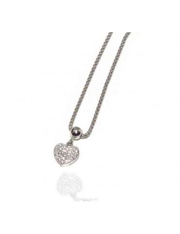 Collana argento 925 cuore di zirconi maglia popcorn N1292
