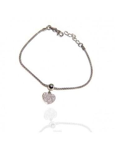 NALBORI 925 silver bracelet with cubic zirconia heart and popcorn