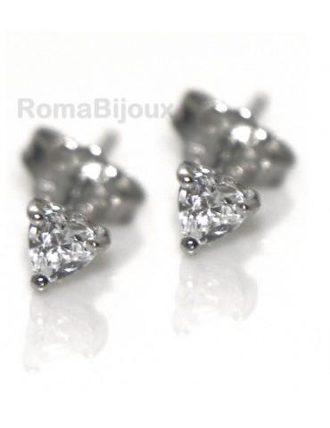genuine silver 925: earrings male micro jaws heart 3mm cubic zirconia