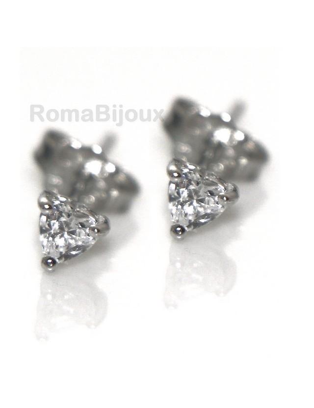 Argento 925 : orecchini donna uomo micro griffe cuore 3 mm zirconi bianchi