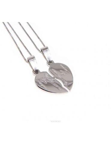 collane lui e lei cuore spezzato in argento 925 Ci Ameremo per Sempre