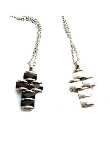 collana acciaio ciondolo croce ceramica bianco nero marca nalbori