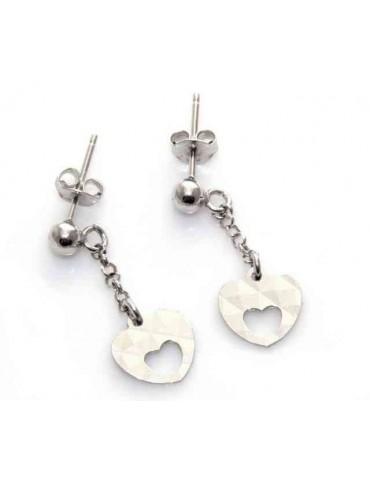 orecchini argento 925 con cuore diamantato