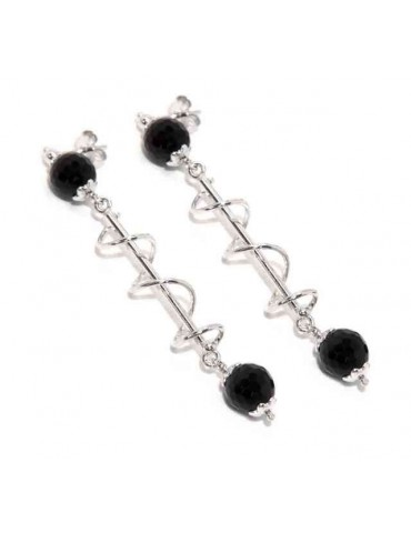 Long silver 925 woman earrings with spiral and black agate