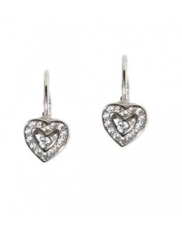 Small heart shaped 925 silver earrings
