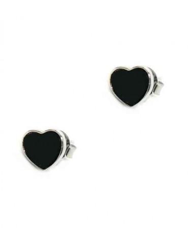 NALBORI orecchini argento 925 cuore piccolo onice