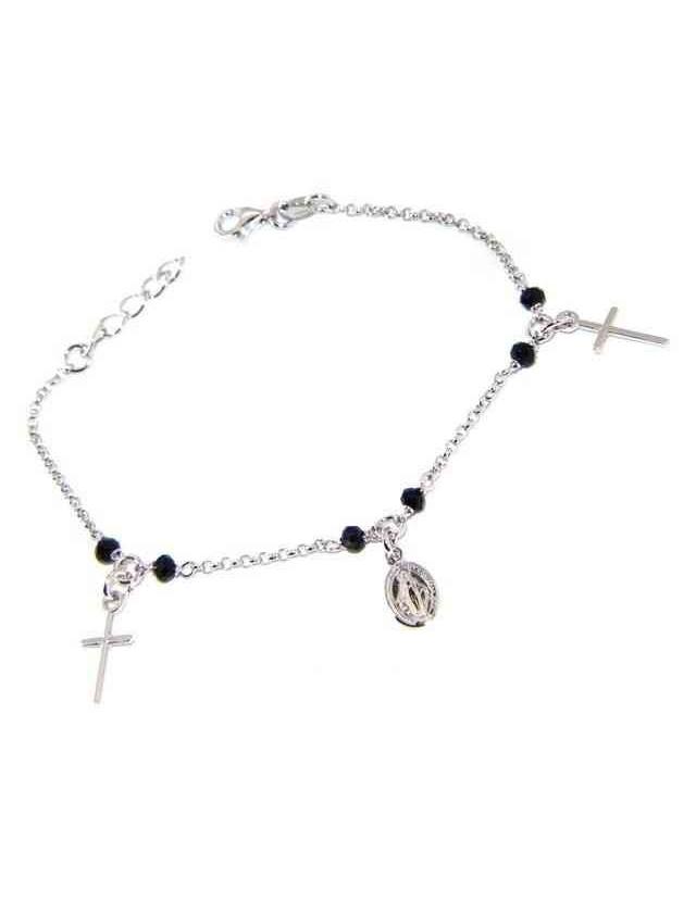 Bracciale rosario uomo donna Argento 925 cristallo nero , ciondoli croce madonna miracolosa cm 16,50 19,00