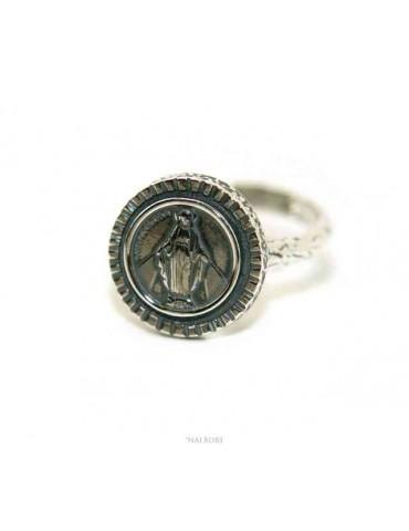 NALBORI Anello Argento 925 da uomo o donna scudo regolabile Madonna Miracolosa