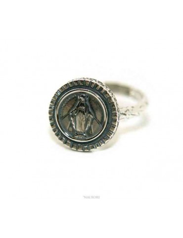 Ring Silver 925 for man or woman adjustable shield miraculous madonna