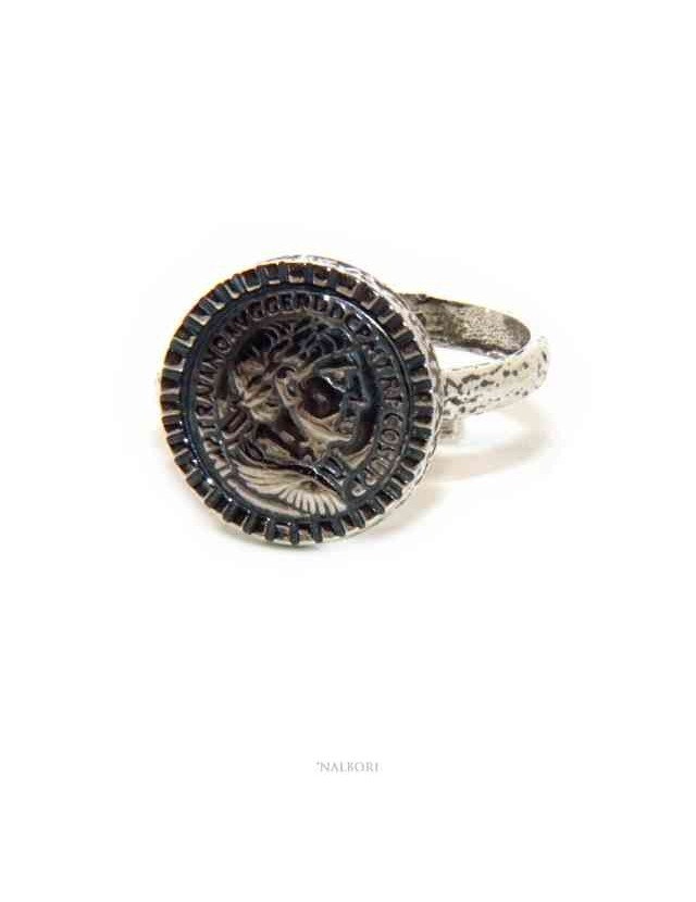 NALBORI Anello Argento 925 da uomo o donna scudo regolabile moneta antica