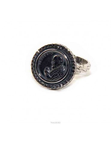 Ring Silver 925 for man or woman adjustable shield Father Pio