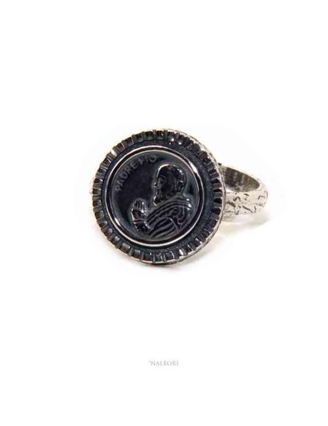 NALBORI Anello Argento 925 da uomo o donna scudo regolabile con Padre Pio