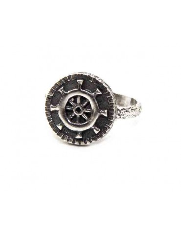 Ring Silver 925 for man or woman adjustable shield helm