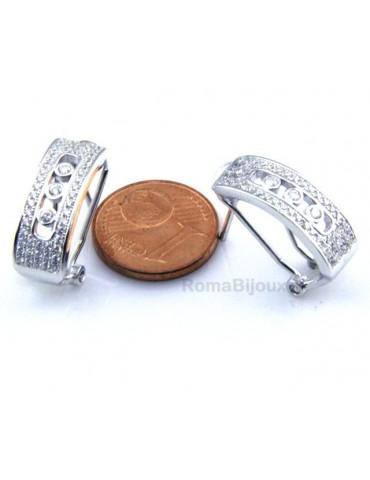 Argento 925 Orecchini chiusura omega con binario centrale con 3 zirconi da mm 1