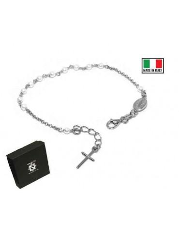 Bracciale rosario in Argento 925 madonna miracolosa e perline bianche
