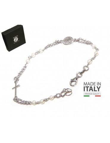 Bracciale rosario Argento 925 croce e madonna miracolosa  con perle
