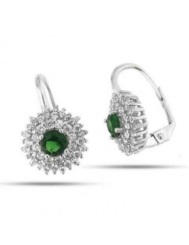 Orecchini monachella in argento 925 tondi rosone di zirconi emerald