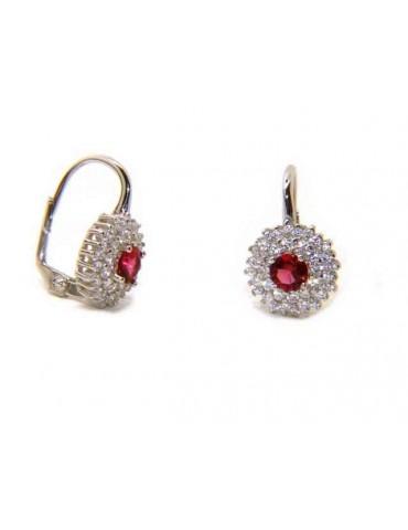 NALBORI Orecchini monachella in argento 925 tondi rosone di zirconi rubin