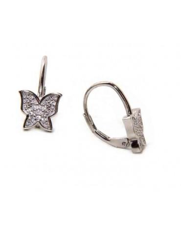Orecchini argento 925 farfalle con monachella e pavè di zirconi