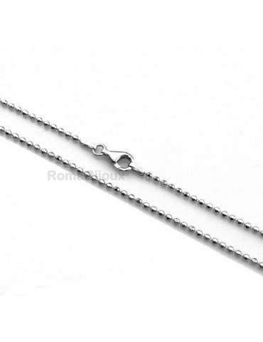ARGENTO 925 : Girocollo collana o bracciale pallini palline balls varie lunghezze sfere diamantate da 2,0 mm