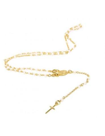 NALBORI Collana Rosario Argento 925 a Y  perle , bagno oro giallo