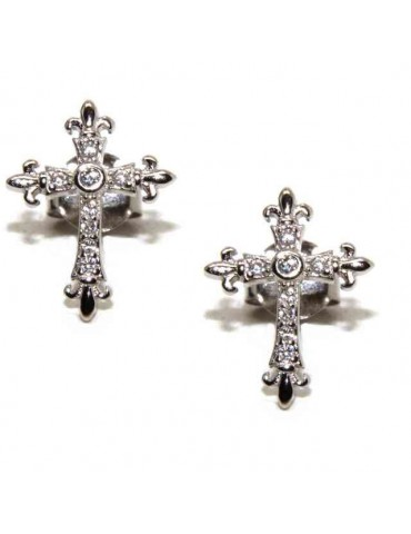 NALBORI 925 silver earrings with zircon cross lily